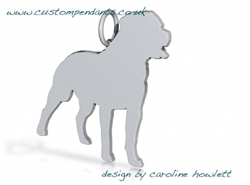 Rottweiler full body Charm natural silhouette solid sterling silver Handmade in the Uk